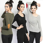 TheMogan Casual Basic Suede Elbow Patch Long Sleeve Lightweight Knit Sweater Top