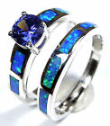 0.80 Ct Tanzanite & Blue Fire Opal 925 Sterling Silver Solitaire & Band Ring Set