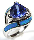 1.75 Carat Tanzanite & Blue Fire Opal Inlay 925 Sterling Silver Ring Sz 6,7,8,9