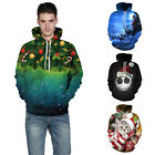 Women Men 3D Print Jumper Sweatshirt Hooded Christmas Hoodie Pullover Outwear