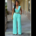 Womens Clubwear V Neck Playsuit Bodycon Party Jumpsuit Romper Trousers with Belt