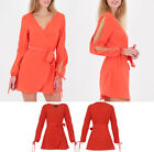 New Women Summer Orange Boho Chiffon Dress Cut Out Sleeves Beach Mini Sun Dress