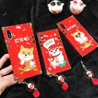 New Year Red Lucky Cat Foursquare Shockproof Soft Case For iPhone X 8 7 Plus 6S