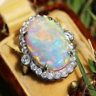 Vintage 925 Silver Ring White Fire Opal Women  Wedding Engagement Size 6-10