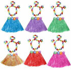 hula costumes - 5 Piece Set  Kids Hula Fancy Grass Skirt Hawaiian Wristband Flower