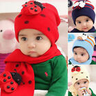 Cute Children Baby Winter Warm Boy Girl Ladybug LadyBird Hat Caps + Scarf Set