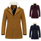 Mens Trench Coat Long Single Breasted Overcoat Faux Fur Collar Jacket Outwear AU