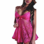 US FAST Women Sexy Lingerie Lace Babydoll Thong Nightwear Sleepwear Dress Set