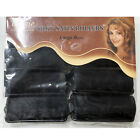 ANNIE SILKY SATIN FOAM ROLLERS 1242, 8 COUNT BLACK LARGE 1""