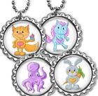Whimsical Animals Kid's Bottle Cap Necklace Handcrafted Fox Horse Octopus Bunny