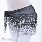 128 Silver Coins Hip Belt Chain Chiffon Hip Scarf Belly Dance Costumes Dancewear