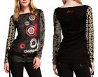 Desigual Long Sleeved Black And Red Multi Patterned Top BNWT All Sizes Glittered