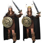 LADIES DELUXE VIKING COSTUME WARRIOR HISTORICAL MEDIEVAL FANCY DRESS OUTFIT