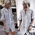 Sexy Women Short Sleeve Striped Button Down Blouse Shirt Casual Loose Mini Dress