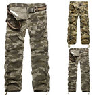 Men's Combat Cargo ARMY Pants Military Camouflage Tactical Loose Work Trousers *