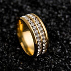 18K YELLOW GOLD PLATED DIAMONDS  BAND Women Ring  SİZE 6 TO 12