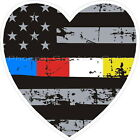 Thin Blue Red White Yellow Line Distressed Flag Heart Decal Police Fire EMS 911