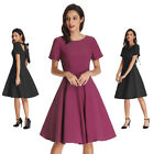 50S Retro Vintage Women Dresses Pinup Cocktail Party Ball Prom MINI Swing Dress