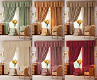 Traditional Allover Floral Damask Pencil Pleat Ready Made Curtains In 7 Colours