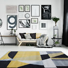 Modern Ochre Yellow Grey Living Room Rugs Easy Living Non Shed Abstract Area Rug