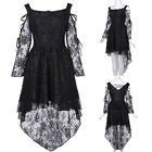 Retro Vintage Gothic Victorian V-Back High-Low Lace Swing Party Evening Dresses