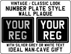 METAL PLAQUE SIGN - Classic Black Number Plate design - bike motorcycle fan gift