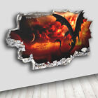 C149 Dragon Fire Lava Cool  Decal Canvas 3D Smashed Hole Wall Vinyl Stickers