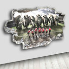 C005 Rhino Animal Rugby Sport  Decal Canvas 3D Smashed Hole Wall Vinyl Stickers