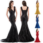 Clearance Sequins Woman Deep V Ball Gown Evening Prom Party Dress 8 Size US 2~16