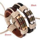 Men Chic Punk Surfer Handmork Hemp Leather Braid Wristband Cuff Bracelets Gifts