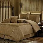 Deluxe 2-tones Brown Paisley Soft Microsuede Comforter 7 pcs King Queen Or Panel image