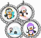 Playful Penguins Bottle Cap Bag Tag Luggage Id Kids Backpack Zipper Pull Charm