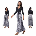 Trendy V-Neck A-Line Wrap Maxi Dress Sexy Tie Belt Long Sweep Skirt Dresses
