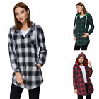 Women's Leisure Cardigan Plaid Check Shirt Long Sleeve Hoodie Hooded Blouse Tops
