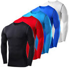 Mens Compression Shirt Long Sleeve T-Shirt Exercise Base Layer Running Tights