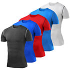 Mens Compression Shirt Short Sleeve T-Shirt Exercise Base Layer Running Tights