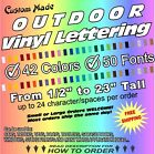 Custom OUTDOOR Vinyl Lettering Decal Sticker Car Truck Boat Trailer Window Text