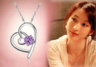 New Women  Heart Shaped Crystal Pendant Necklace Jewelry Accessories Blue