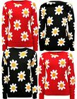 Daisy Floral Printed Pattern Long Sleeve Jumper Top Womens Knitted Cardigan