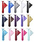 Boys Elasticated Ties Kids Wedding Prom Necktie And Hanky Set in Multicolor