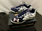 NEW UNDER ARMOUR Men's FOOTBALL CLEATS. White & Blue Stripes VARIOUS SIZES