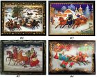 RUSSIAN LACQUER BOXES/RUSSIAN WINTER/COUNTRYSIDE/3-HORSE SLEIGH/TROIKA/3x4in