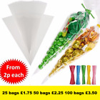 Large Clear Cellophane Cone Bags FREE Twist Ties Party Sweet Cello