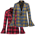 Women Ladies V Neck Long Bell Sleeve Open Front Knotted Plaid T Shirt Blouse Top