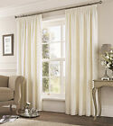 "Fusion Eastbourne Woven Jacquard Fully Lined 3"" Pencil Pleat Curtains Cream"