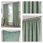 "Fusion Eastbourne Woven Jacquard Fully Lined 3"" Pencil Pleat Curtains Duck Egg"