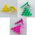 Colorful Punk Square Pyramid Rivet Stud Earring Ear Clip Cuff Non Piercing Gift