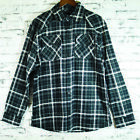 Mens 100% Pure Cotton Flannelette Flannel Black Grey Check Shirt Sz S-XXL