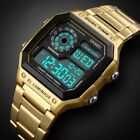 Mens Digital Quartz Wrist Watch Sport Army Waterproof LED Gold Stainless Steel