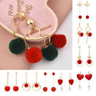 Women Charm Jewelry Lovely Plush Fuzzy Ball Dangle Earrings Women Gift Red